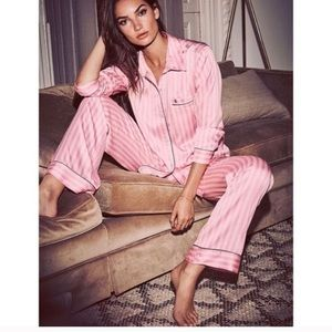 Victoria's Secret SATIN striped pajama set Pink S